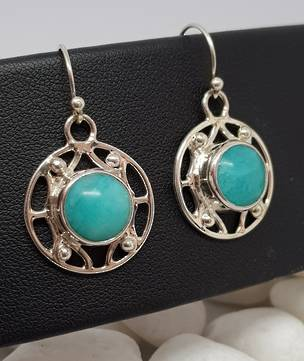 Sterling silver blue amazonite gemstone earrings