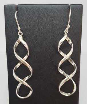 Silver infinity spiral earrings, longer style