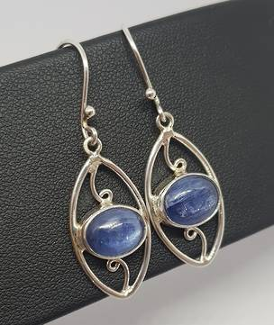 Sterling silver blue kyanite gemstone earrings