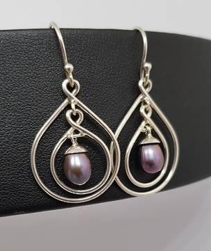 Stunning dangle grey pearl earrings, sterling silver