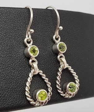 Silver peridot earrings, longer hook style