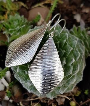 Sterling silver large, decorated kite shape hook earrings