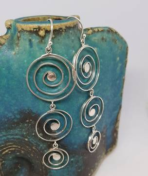 Cascading spirals of sterling silver