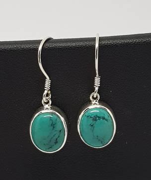 Sterling silver oval turquoise hook earrings