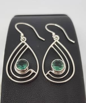 Green quartz open teardrop silver earrings