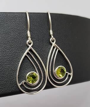 Silver peridot earrings, open teardrop sahpe