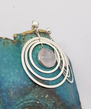 Sterling silver rose quartz large hoop earrings