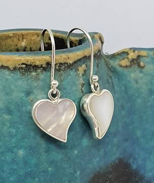 Delicate little heart shaped mother of pearl earrings