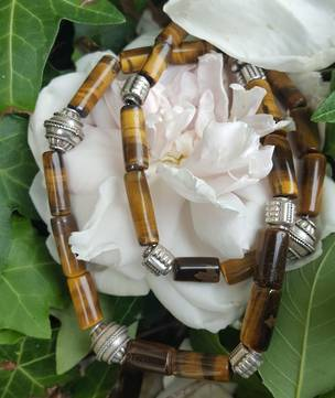 Tigers eye and silver beaded necklace
