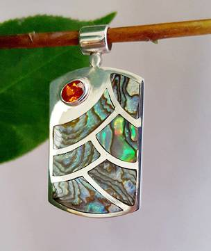 NZ paua shell pendant, sterling silver