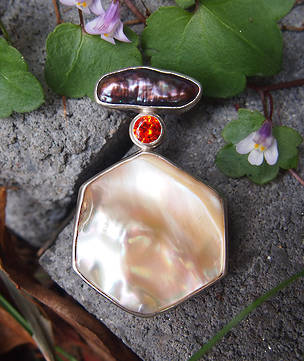 Shell and gemstone pendant - reduced further