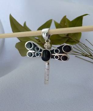 Sterling silver dragonfly pendant with black shell inlay