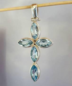 Large sterling silver blue topaz cross pendant