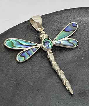 NZ Paua Shell Silver Dragonfly Pendant