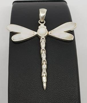 Mother of pearl silver dragonfly pendant