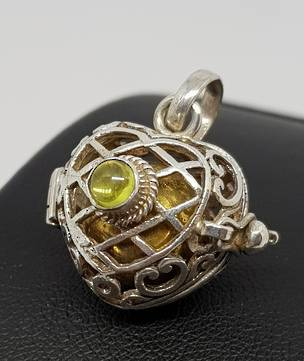 Sterling silver filigree meditation ball pendant