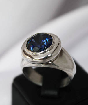 Sterling silver synthetic sapphire ring, made in NZ
