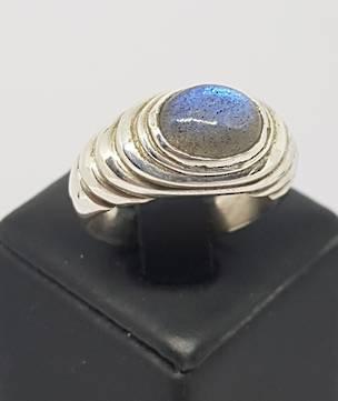 Labradorite in Concentric Circles Ring