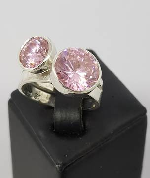 Silver pink gemstone ring - with two large stones!