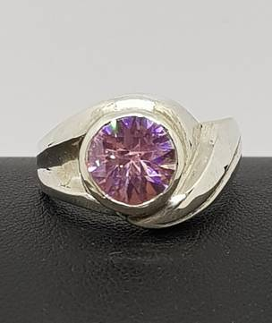 Solid sterling silver pink gemstone ring