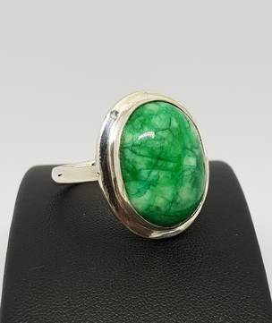 Large silver Jade statement ring