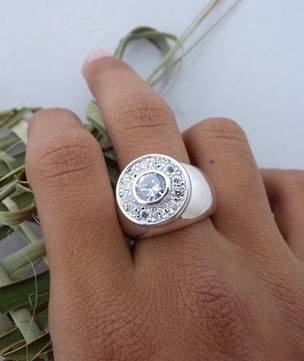 Chunky silver 'bling' ring - cz glamour