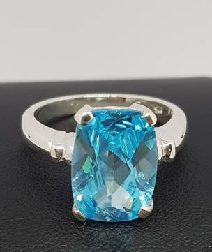 Silver blue topaz ring - NZ made