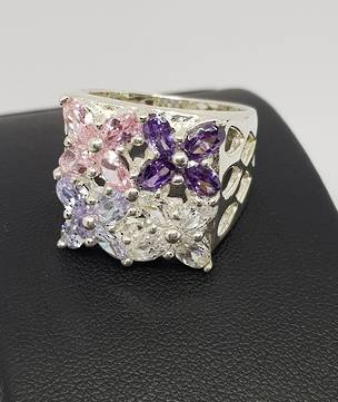 Flower dress ring with purple, pink and cz gems