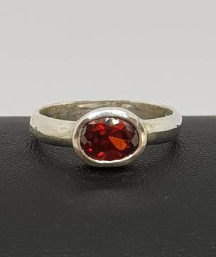 Silver ring with garnet gemstone - made in NZ