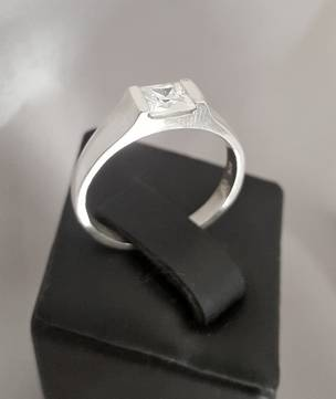 Dainty princess cut cz sterling silver ring