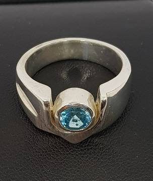 Silver blue topaz ring - made in NZ