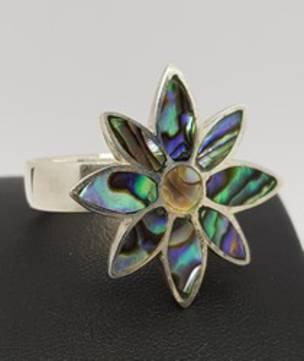 Sterling silver NZ paua shell ring