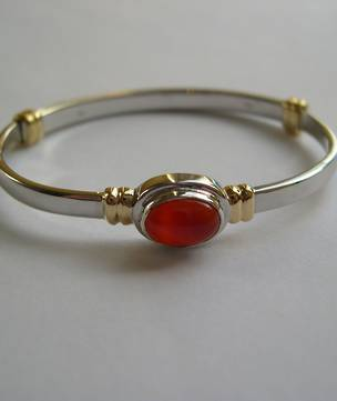 Silver Baby Bracelet with Gold Detail