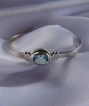 Aquamarine silver baby bangle   Birthstone for March