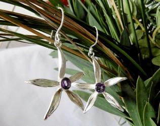 amethyst daisy earrings