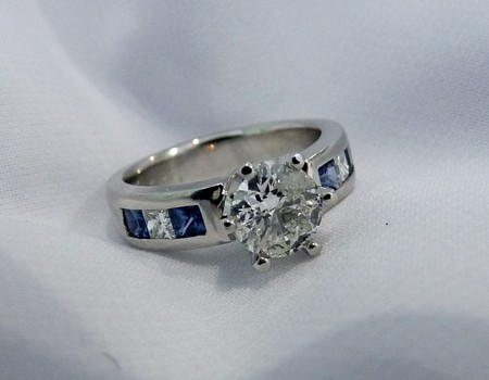 sapphire and diamond platinum engagement ring SilverStone Jewellery-custom-made