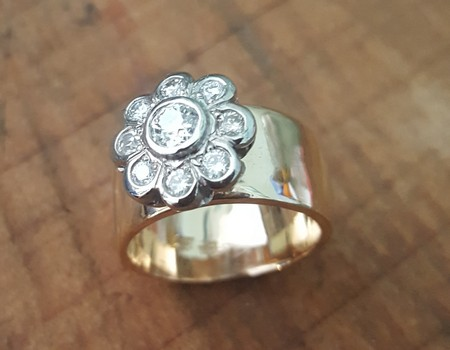 solid-gold-wide-band-ring-with-diamond-flowers-custom-made-SilverStone Jewellery