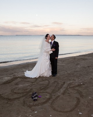 Tane and Sarah wedding photo gold made in NZ