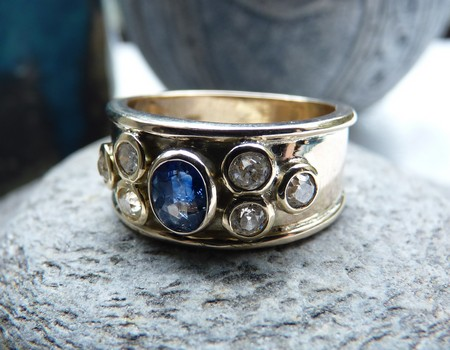 remodeled reset diamond sapphire gold ring-SilverStone-Jewellery