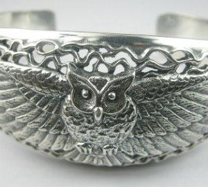 Silver owl cuff bangle 925 silver(copy)