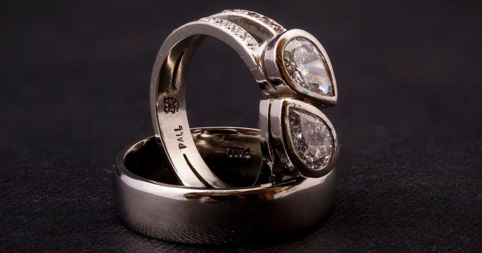 palladium diamond wedding band rings SilverStone