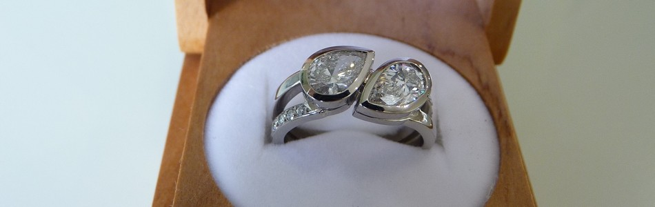 palladium pear diamond wedding band rings SSJ