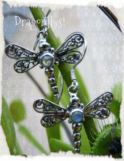 silver moonstone dragonly earringsc(copy)(copy)