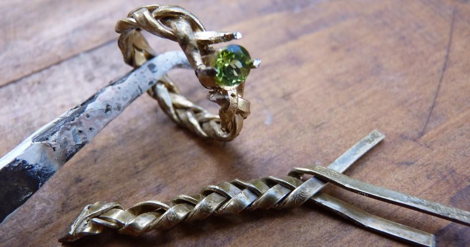 weaving gold custom made engagement ring