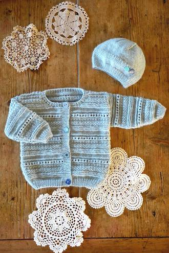Baby Cakes Carmel Cardi and Hat  4 ply