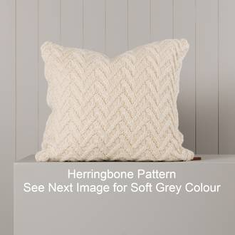 Hipi Herringbone Cushion Cover Square - Soft Grey