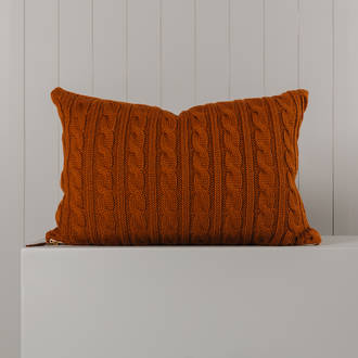 Hipi Cable Rib Cushion Cover Long - Tobacco
