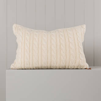 Hipi Cable Rib Cushion Cover Long - Natural