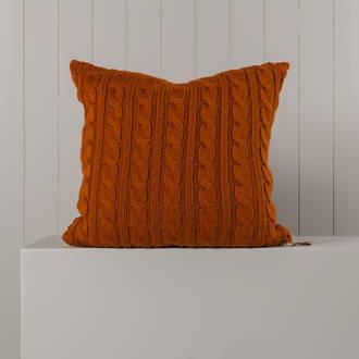 Hipi Cable Rib Cushion Cover Square - Tobacco