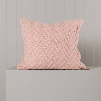 Hipi Cable Herringbone Cushion Cover Square - Soft Pink